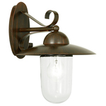 Eglo 83589 Wall Light Milton 1 Antique Brown, Clear Glass IP44