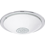 Eglo 93778 LED-Ceiling Light Giolina, Chrome Edges, White Glass Cover, Crystal Middle