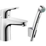 Hansgrohe Focus 100 single lever basin mixer set with Bidette hand shower 31927