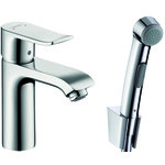 Hansgrohe Metris 110 single lever basin mixer set with Bidette hand shower 31285