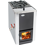 Only 1pc left! Helo 16 PK ES Wood Burning stove with water tank 22 l, front